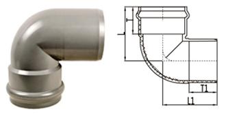 BS EN 1452 PVC-U 90 deg socket spigot Elbow