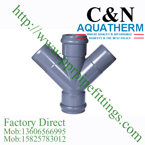 bs en 1452 pvc-u Lateral Cross double socket double spigot rubber ring joint