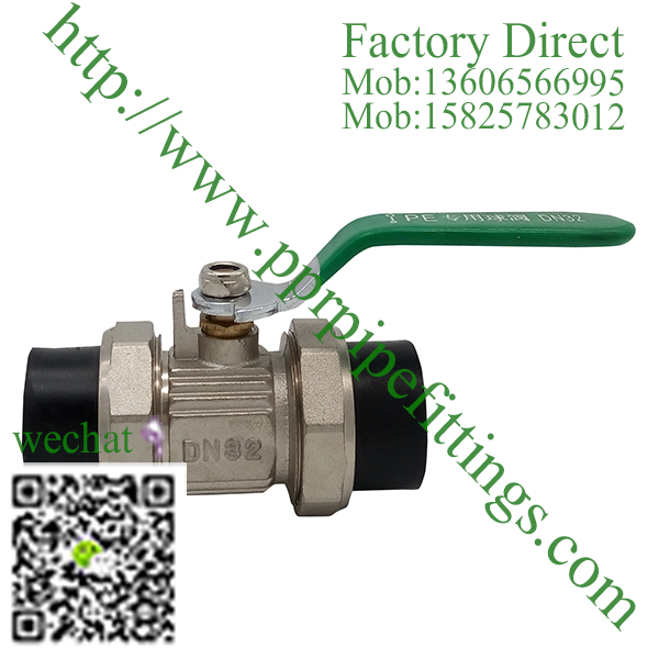 HDPE double union brass ball valve