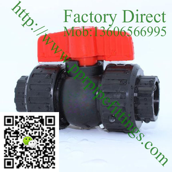 HDPE plastic double union ball valve