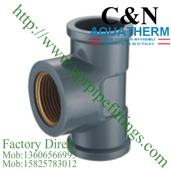 NBR5648 PVC Pipe Fittings female tee copper thread