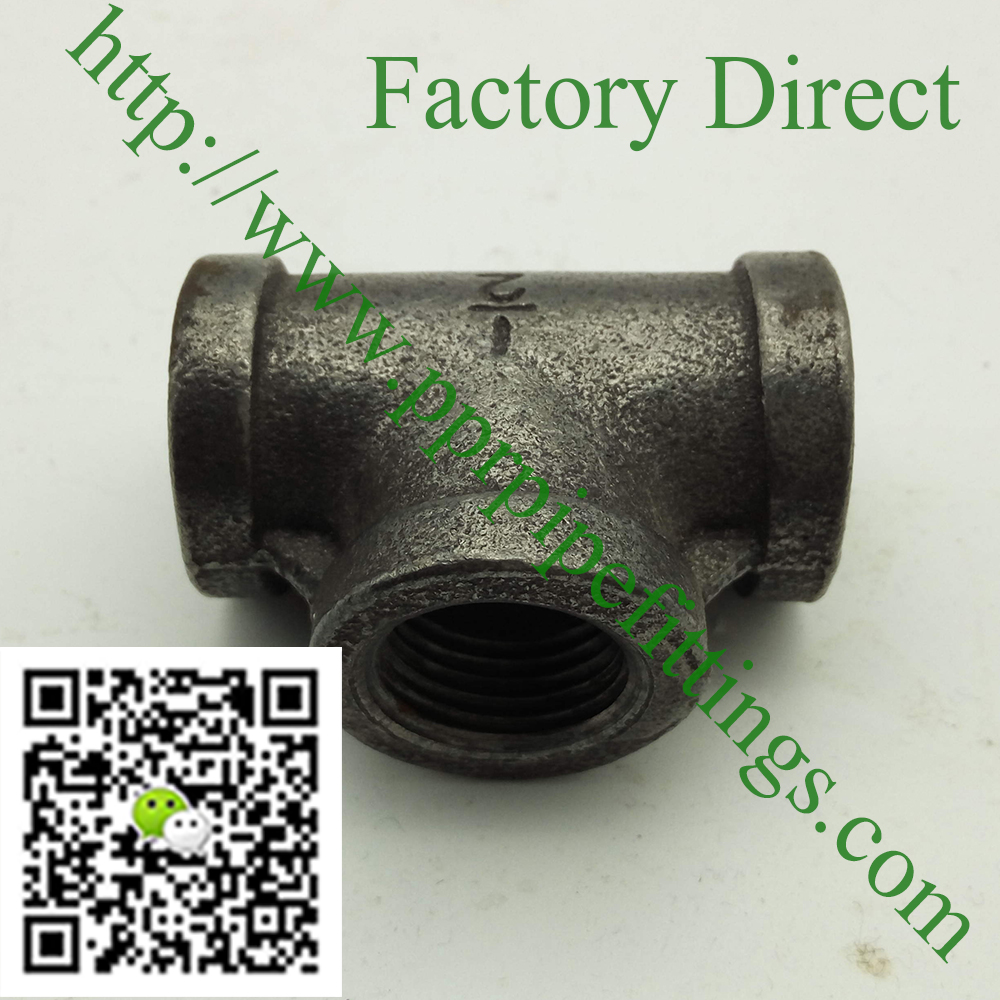 banded black malleable cast iron tee