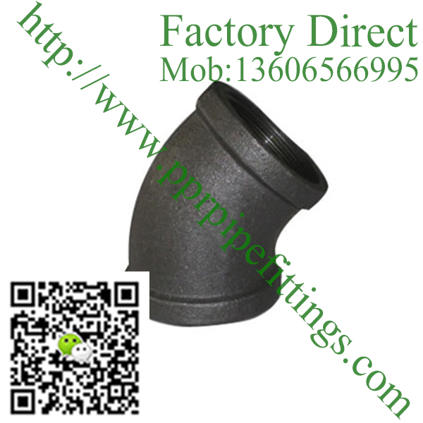 black banded malleable cast iron 45 deg elbow fittings