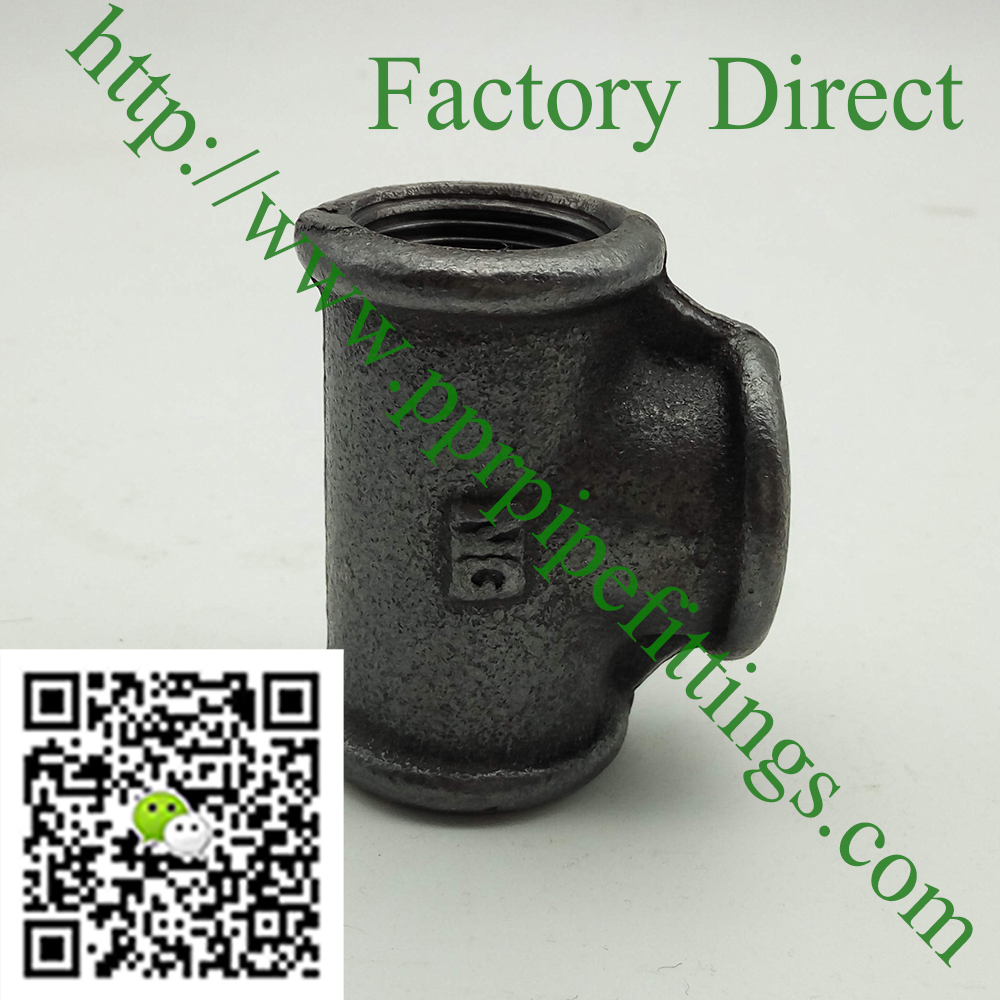 black beaded malleable cast iron tee fittings