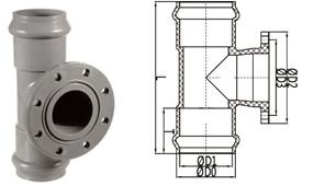 bs en 1452 pvc-u double socket one flange tee rubber ring joint