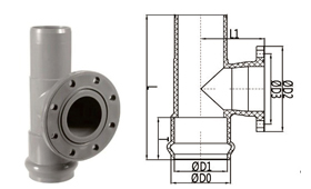 bs en 1452 pvc-u double socket one flange tee rubber ring joint