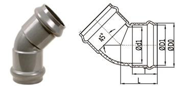 bs en 1452 pvc-u elbow 45 deg rubber ring joint double socket