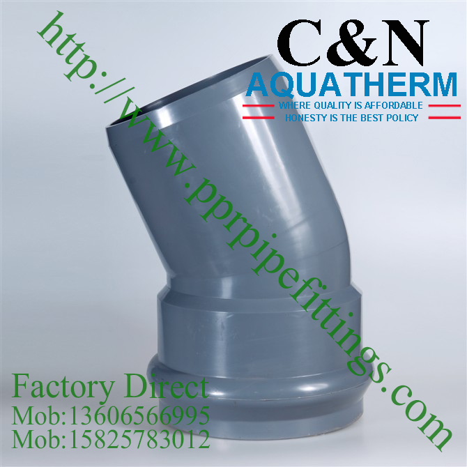 bs en 1452 pvc-u elbow 45 deg socket spigot elbow