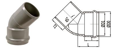 bs en 1452 pvc-u elbow 45 deg socket spigot elbow