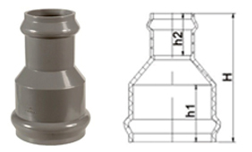 bs en 1452 pvc-u reducing coupling double socket rubber ring joint