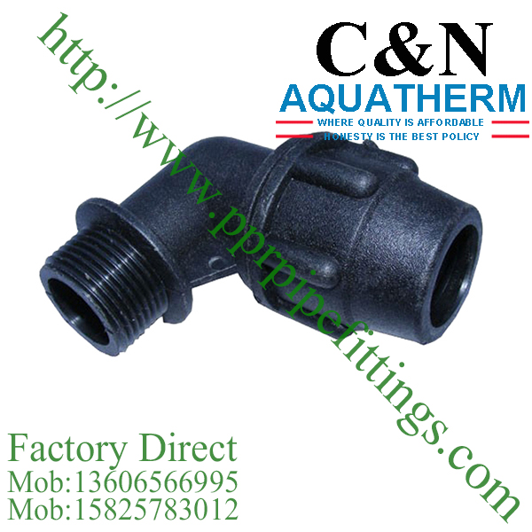 hdpe compression fittings male elbow