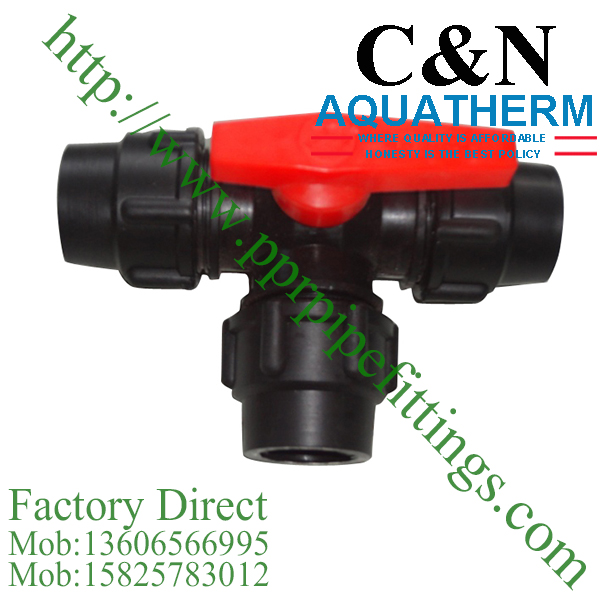 hdpe compression fittings red hand valve tee