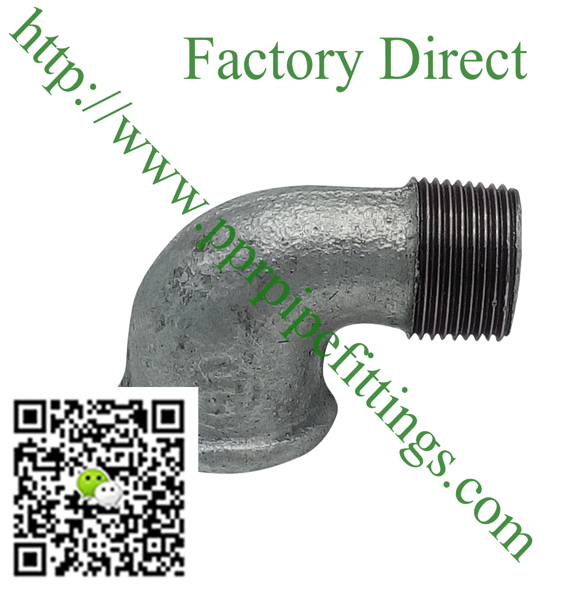 hot dipped beaded cast iron fittings, male elbow