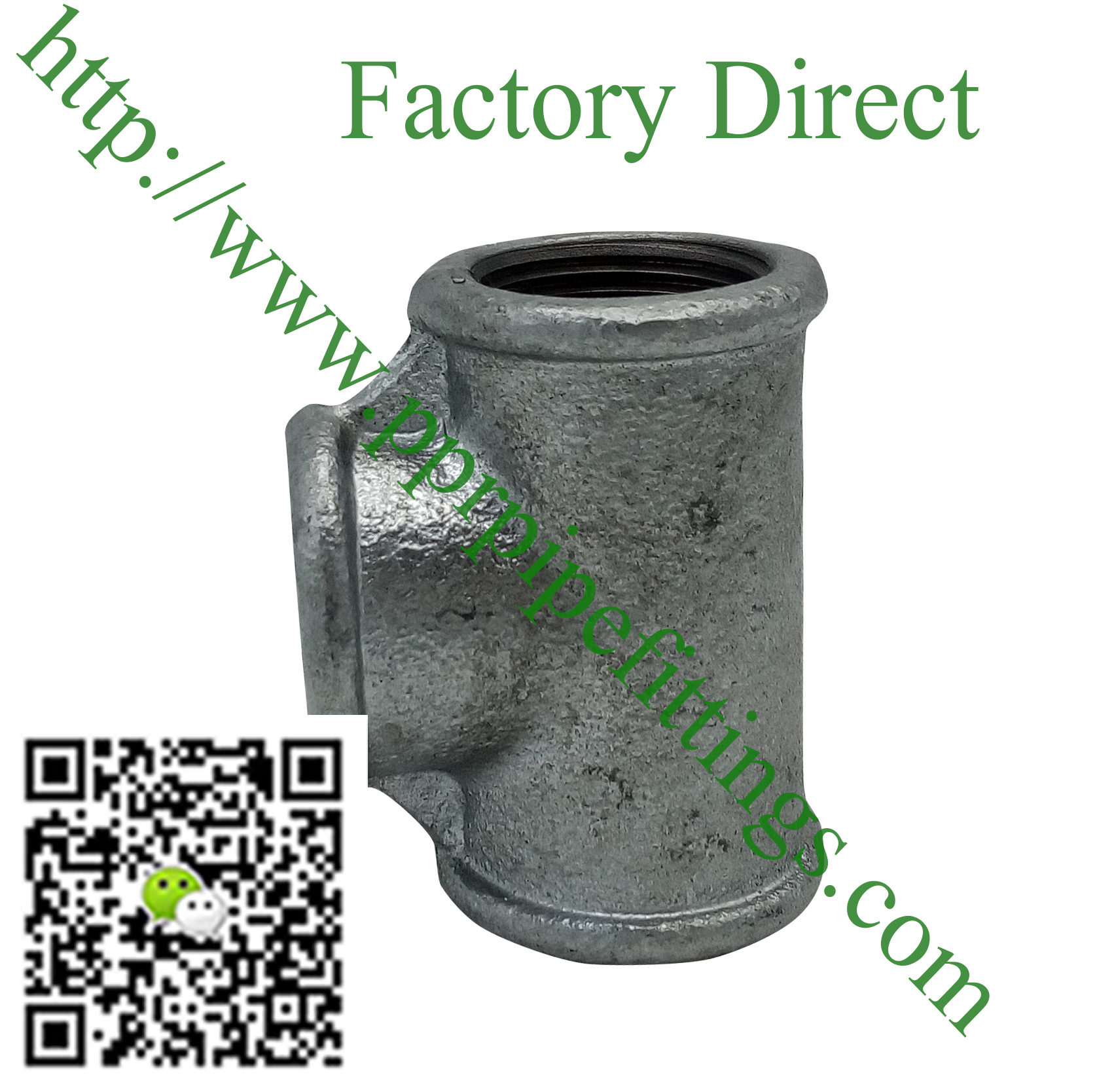 hot dipped beaded cast iron fittings Tee