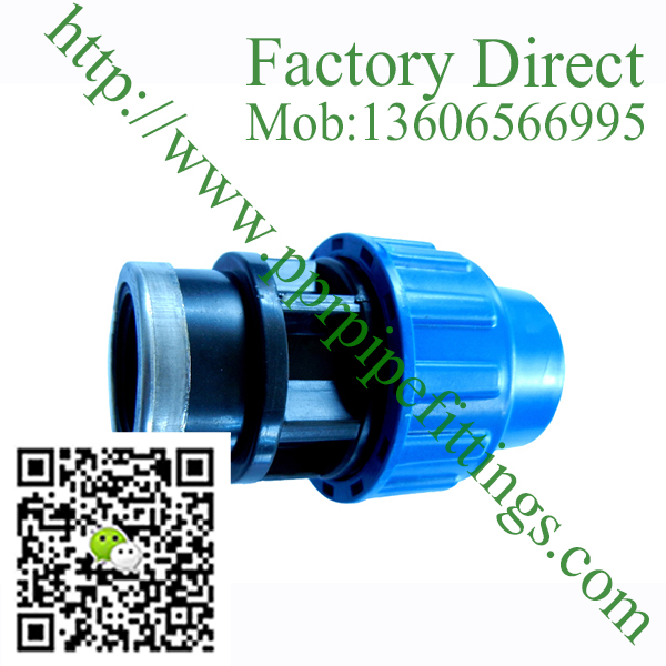 pp compression fittings female coupling with ring