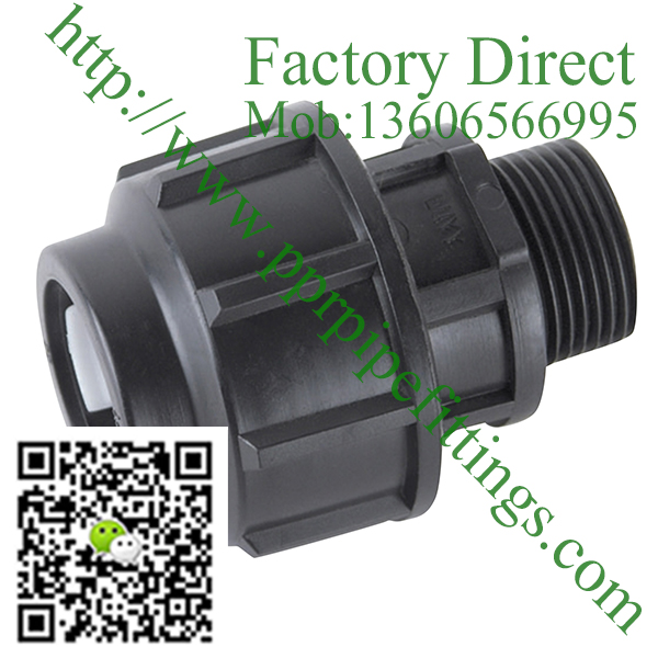 pp compression fittings male coupling