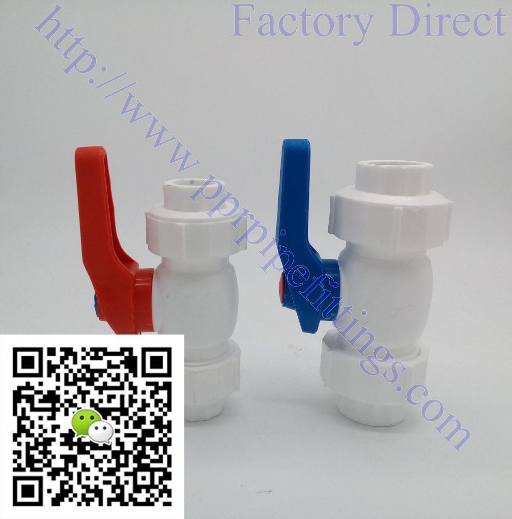 ppr double union steel ball valve