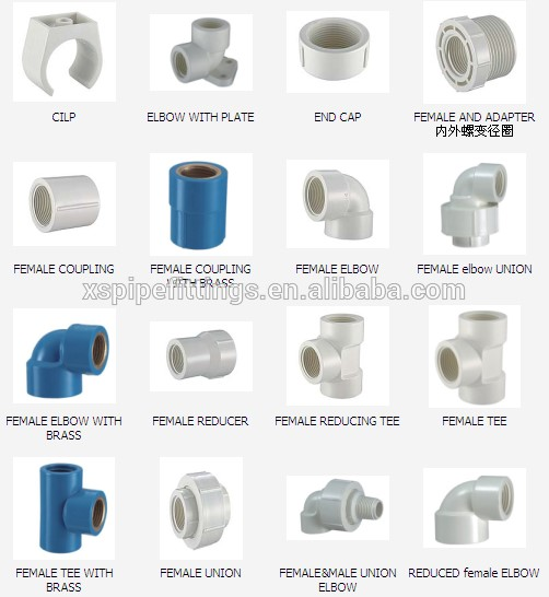 Pvc bs4346 pipe fittings for Plastic plumbing pipe types