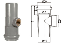 pvc-u tee with copper thread socket spigot